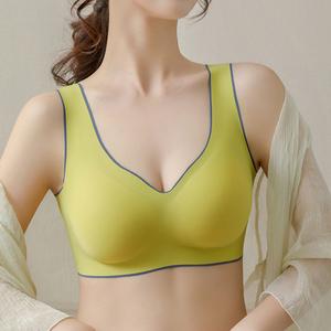 无痕闺蜜泰国乳胶内衣女夏无钢圈小胸聚拢防下垂运动美背心式文胸