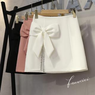 秋季2021新款设计感蝴蝶结高腰显瘦镶钻开叉a字半身裙女包臀短裙