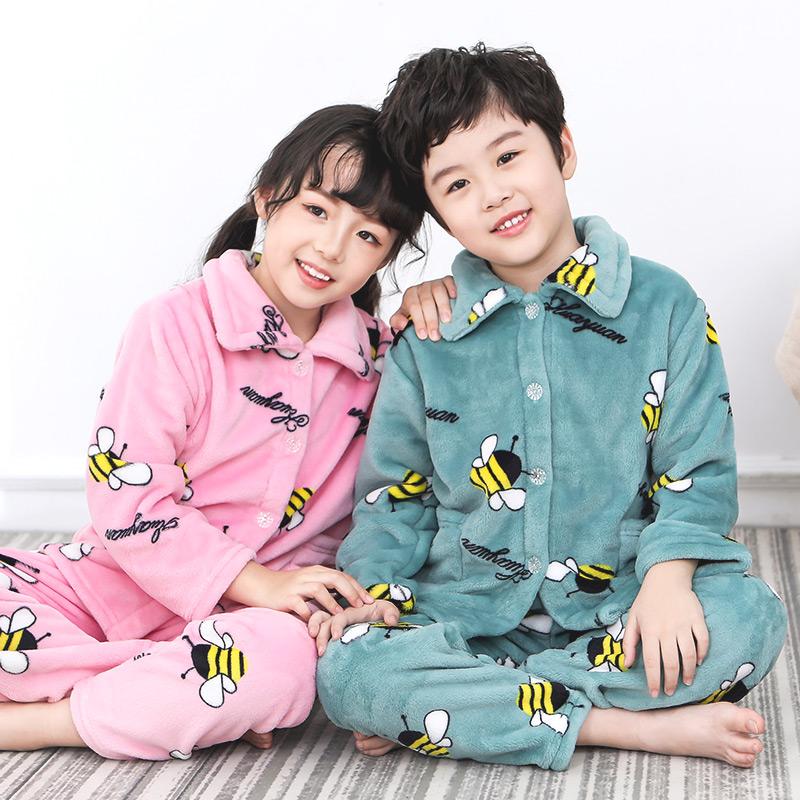 儿童法兰绒睡衣新款男童加厚秋冬季珊瑚绒女童宝宝保暖家居服套装网上购物优惠券