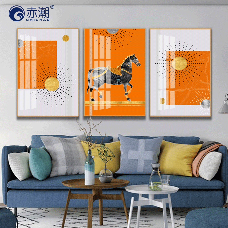 Light luxury crystal porcelain painting living room decoration painting Knight horse sofa background wall painting Nordic trilogy abstract geometric murals