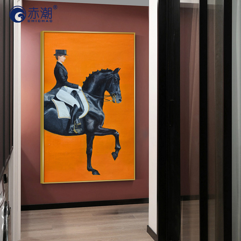 Entrance porch decorative painting vertical single European style corridor Knight horse wall decoration corridor mural Crystal porcelain painting