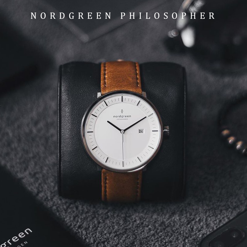 Denmark nordgreen European and American mens and womens watch stainless steel 40mm disc leather strap simple watch