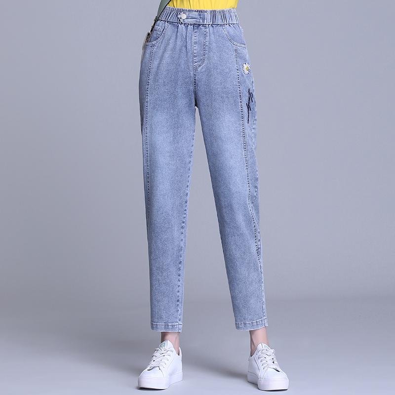 Daisy jeans womens spring and summer high waist big size loose 2021 new Harlan thin daddy pants radish pants