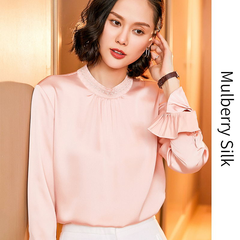 2020 spring silk shirt womens long sleeve fashion foreign style embroidery heavy weight Satin Shirt Top Design