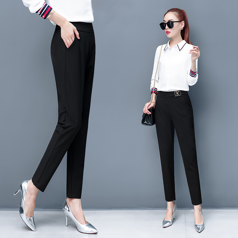 Professional suit pants womens spring and autumn 2020 new black pants womens loose and thin Korean version of small foot Harem Pants