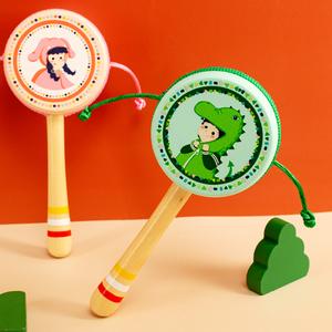 婴儿拨浪鼓传统木质手摇鼓宝宝1新生0到6个月3玩具不可啃咬波浪鼓