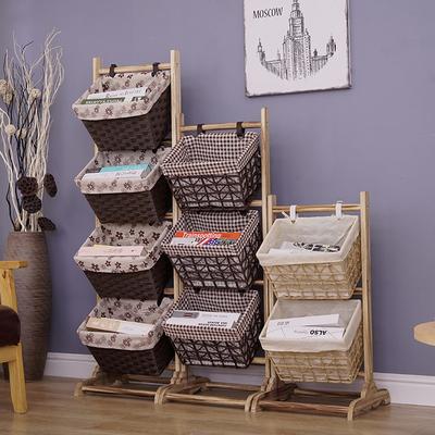 实木零食收纳架家用置物架多层客厅落地书报架田园布艺吊篮整理筐