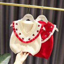 1-5岁女宝宝V领毛线马甲女婴儿童秋装3韩版新款女童可爱2针织背心