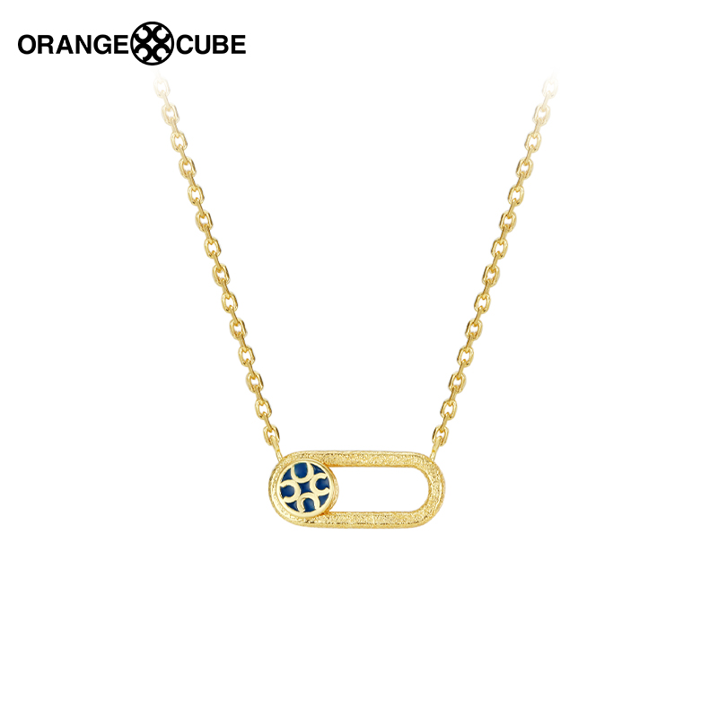 Orange Cube快乐开关项链轻奢小众原创设计感明星同款925银锁骨链