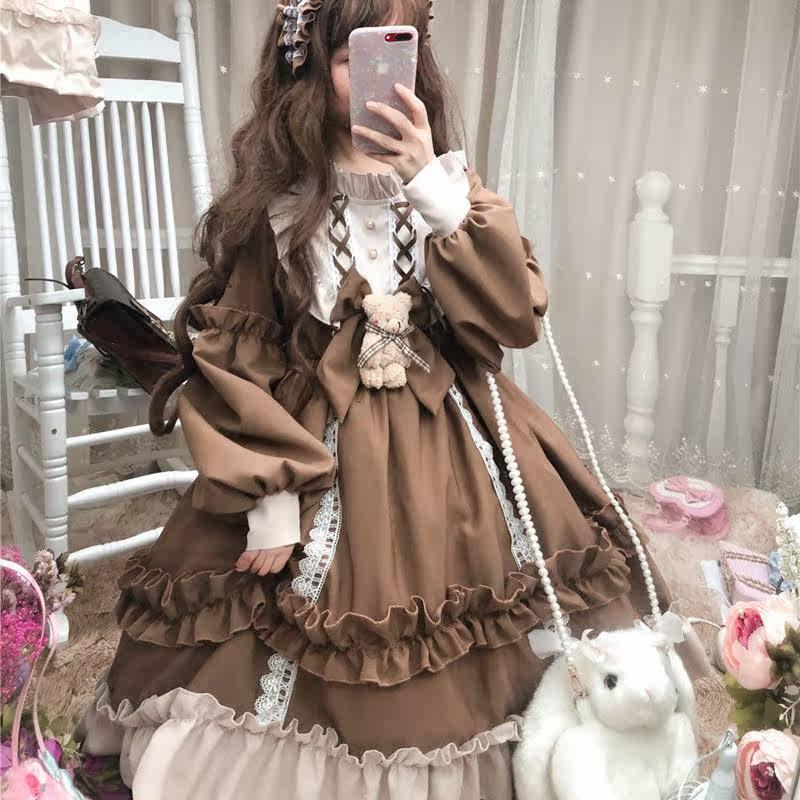 宽松可爱甜美复古国风外套日常萝莉洛丽塔新年套装外搭气质和风款
