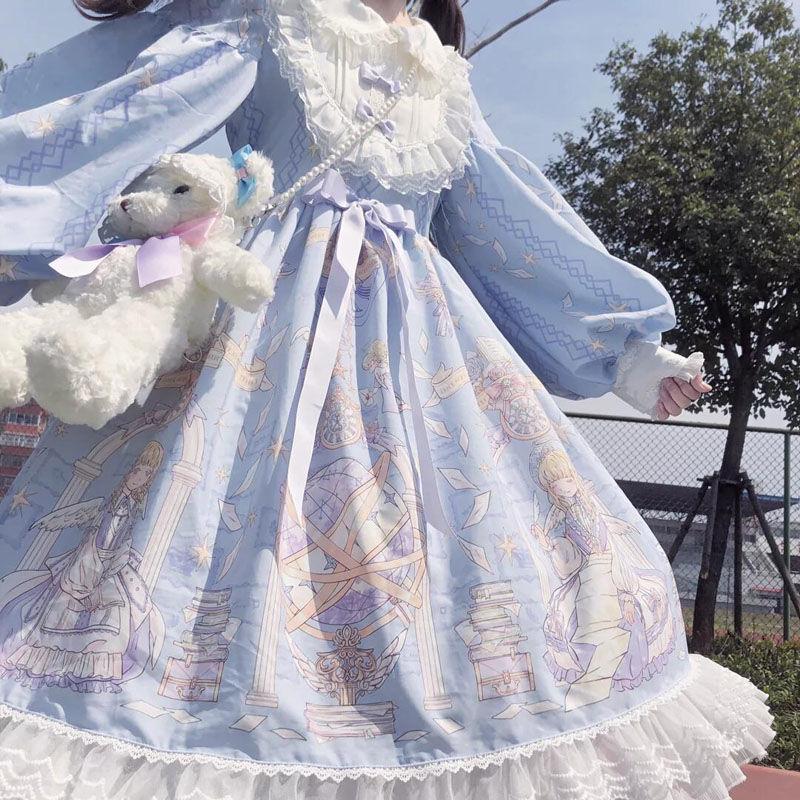 复古海军风学生学院风公主长袖外套花嫁洛丽塔显瘦公主裙收腰小裙