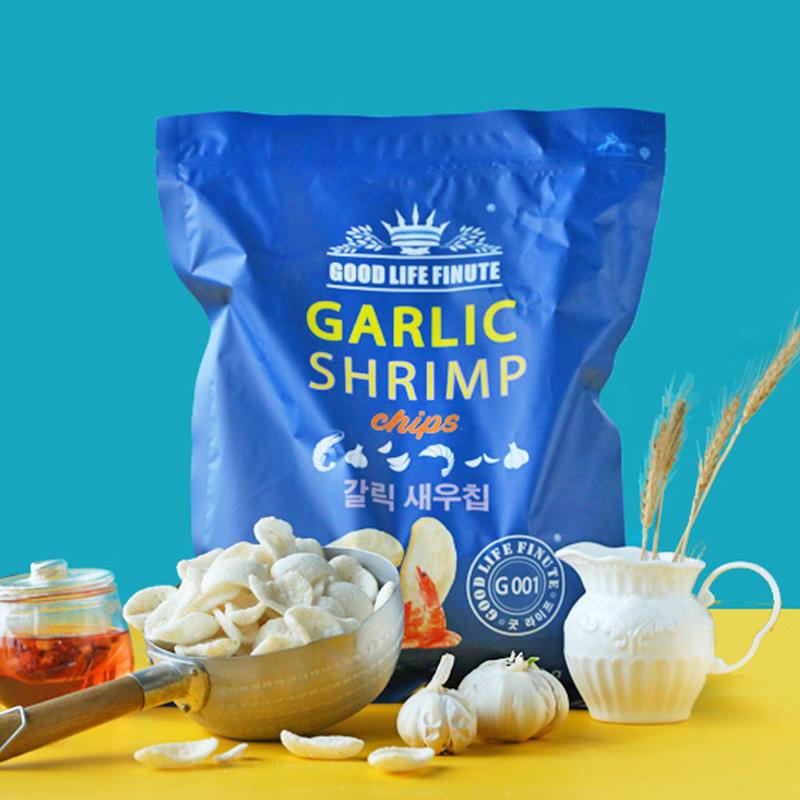 韩国趣莱福garlic shrimp趣莱福虾片蒜味巨型膨化大虾片网红零食