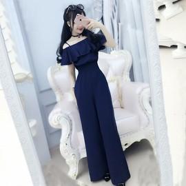 深蓝色长裤连体裤阔腿抹胸女夏学生韩版夏季高腰雪纺吊带新款女装图片