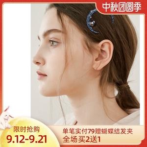 月亮半扎发发夹女后脑勺无痕头饰刘海夹边夹夏季发卡气质侧边发饰