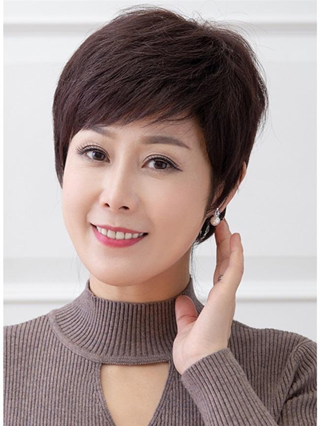 新假发女短发中老年假发全真人发易打理送妈妈自然透气短直发全头
