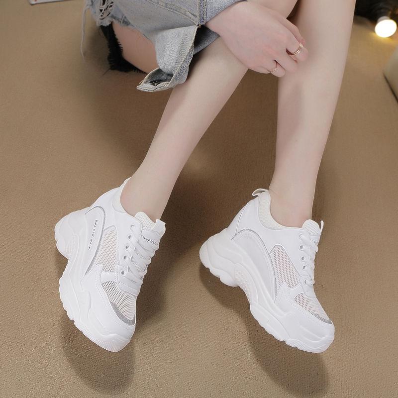 2020新款夏季厚底时尚运动鞋百搭透气休闲老爹鞋内增高小白鞋女