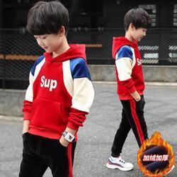 【金丝绒】加厚加层双面绒中大男童保暖套装2020新款韩版冬季卫衣