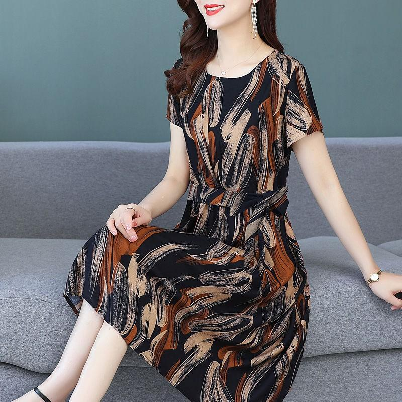 Middle aged and elderly summer dress women 2020 new 50 year old fashionable foreign style printed mothers knee over large skirt