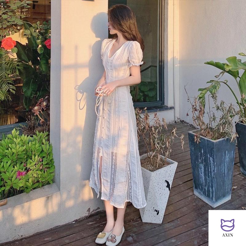 Summer womens split dress Hepburn small white dress French first love Platycodon sweet but salt hollow dress