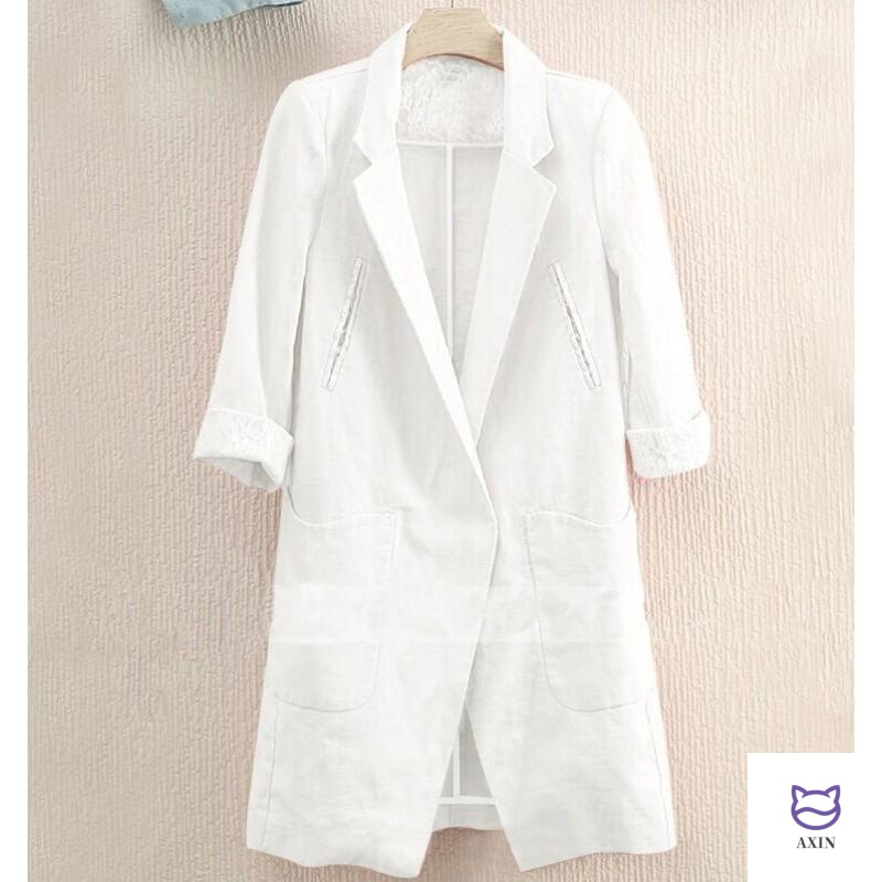 2020 new White Size spring and autumn seven sleeve linen Blazer medium length large casual thin women.
