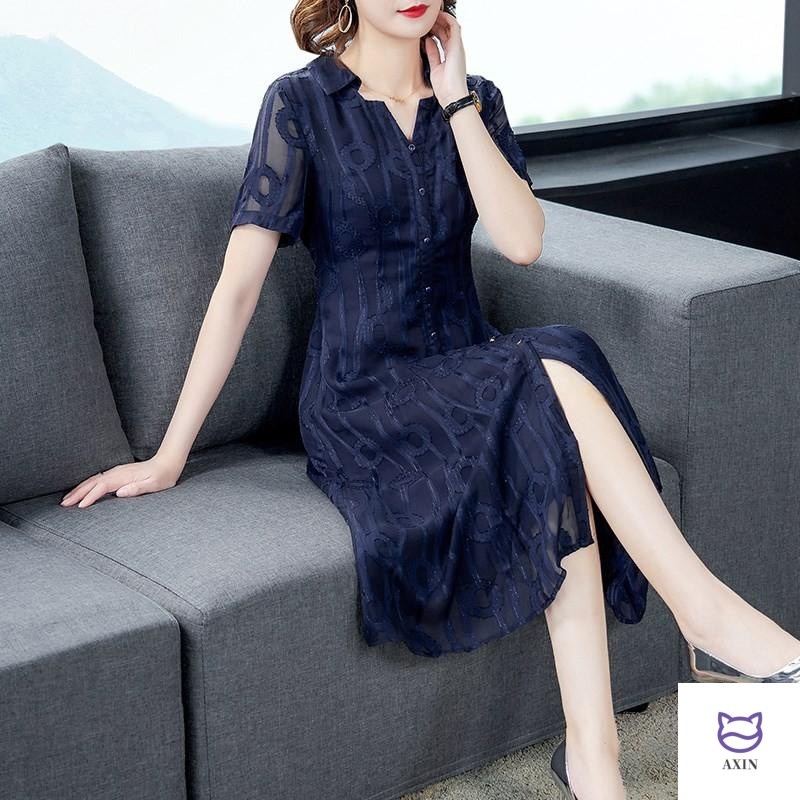 Mothers 35-45 womens dress summer 40 year old ladys temperament dress middle-aged noble foreign style short skirt