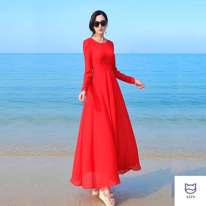 Spring new round neck chiffon long dress of Lihua in Xiangyi
