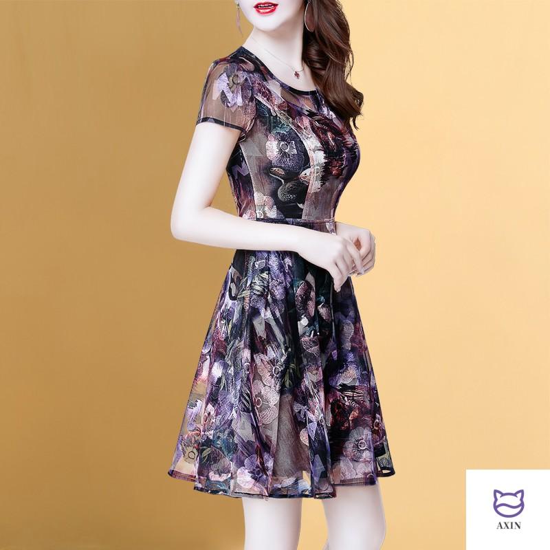 40 year old womens dress summer 2020 new temperament sexy short sleeve womens dress womens summer Floral Chiffon Skirt