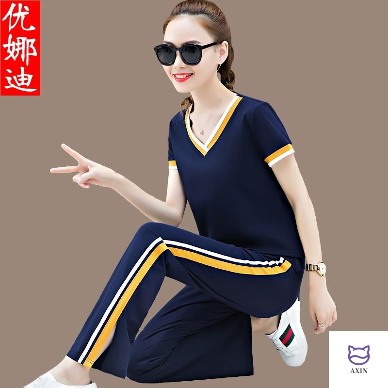 Leisure sports suit womens spring and summer Korean V-neck womens show thin wide leg pants sportswear 2020 short sleeve two piece set