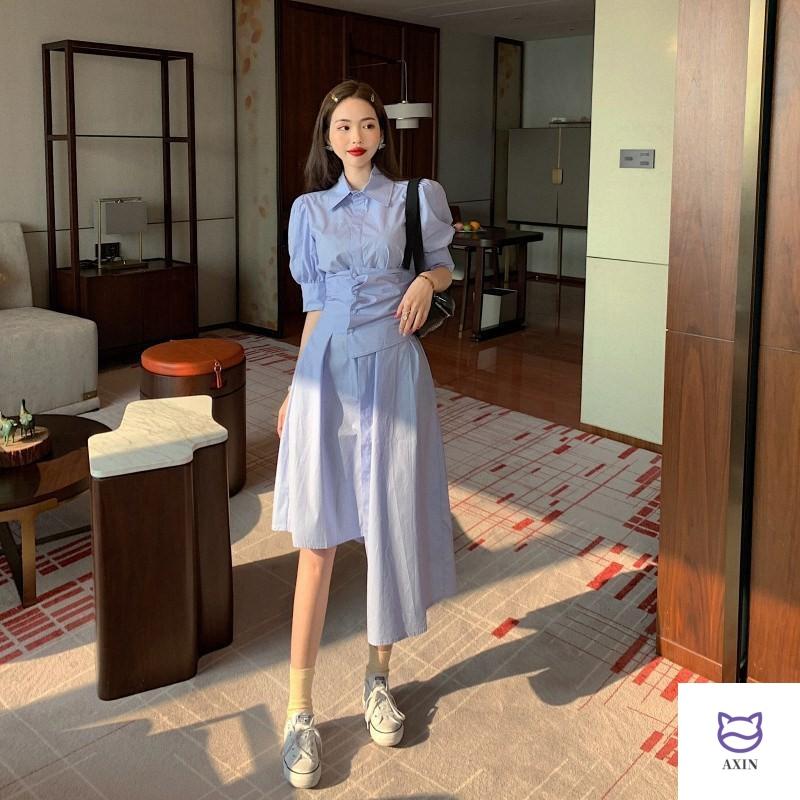 Shirt skirt design sense small blue irregular dress women 2020 new summer temperament medium length skirt