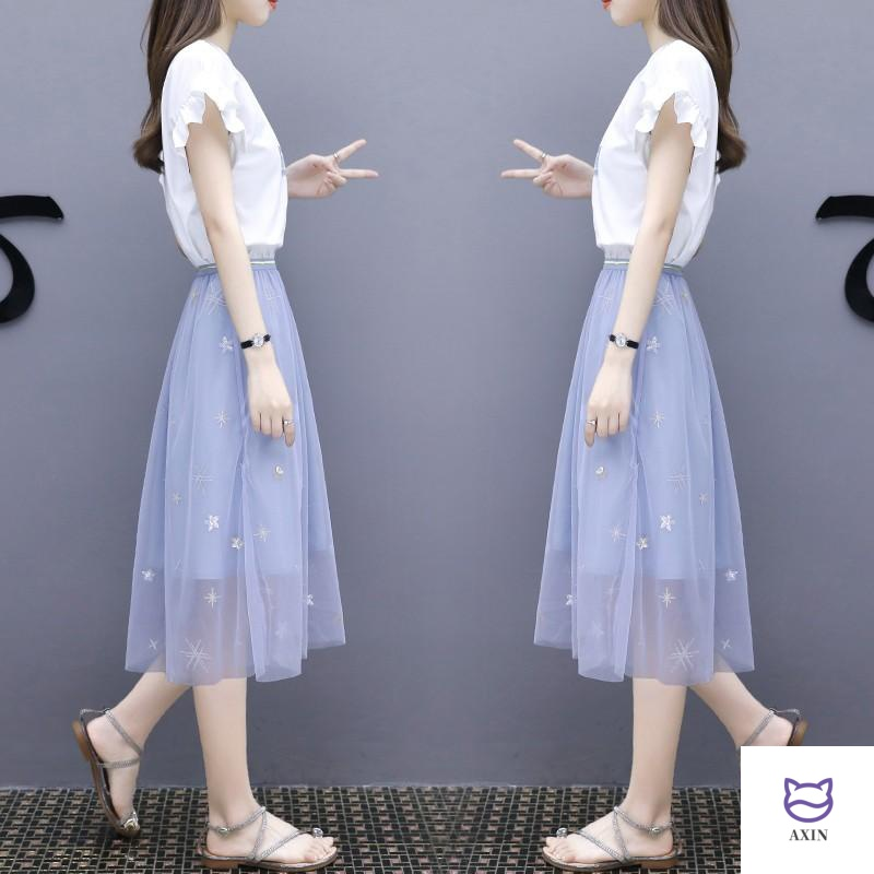 Dress womens summer 2020 new medium long fashion mesh skirt two piece set of small fresh suit skirt