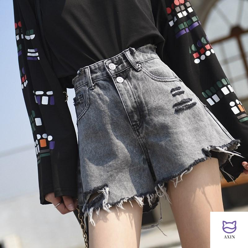 20 spring and summer new smoke grey broken hole elegant Jeans Shorts womens high waist shows thin A-line loose wide leg hot pants fashion