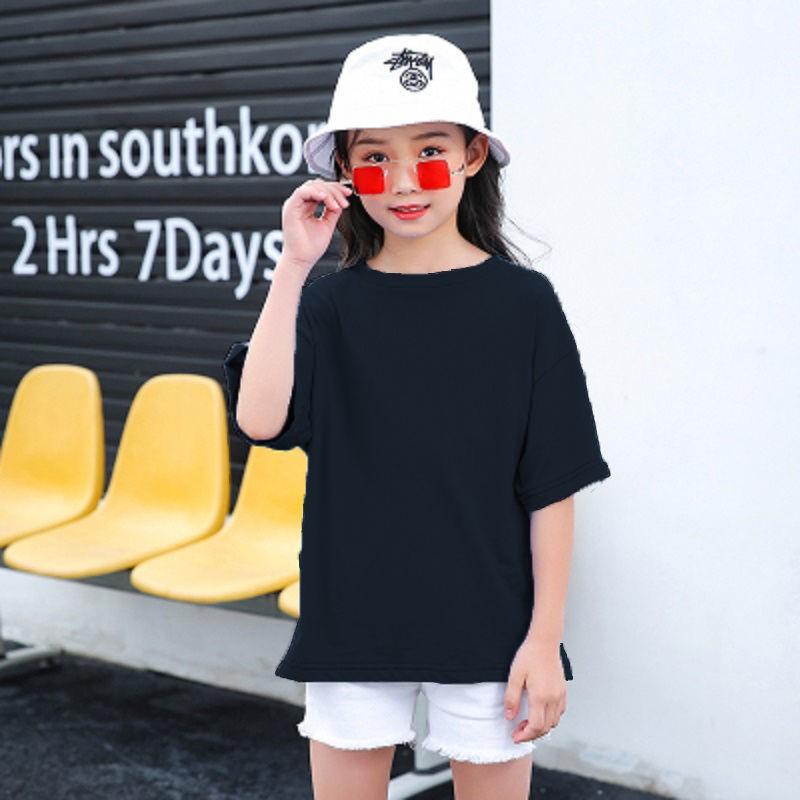 中大童宽松打底衫男女童短袖T恤 棉质儿童纯色上衣2021夏季新款潮