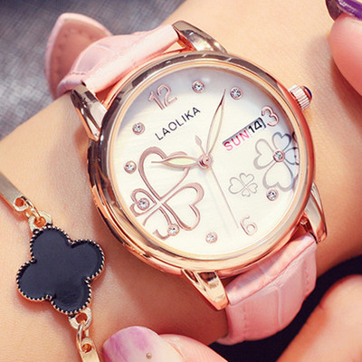 Exquisite four-leaf clover heart-shaped women's watch set with diamonds to send girlfriend gifts casual belt junior high school students ladies watch fashion