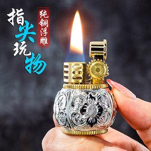 正品zorro佐罗浮雕繁花煤油打火机 迷你纯铜砂轮创意小胖墩个性潮