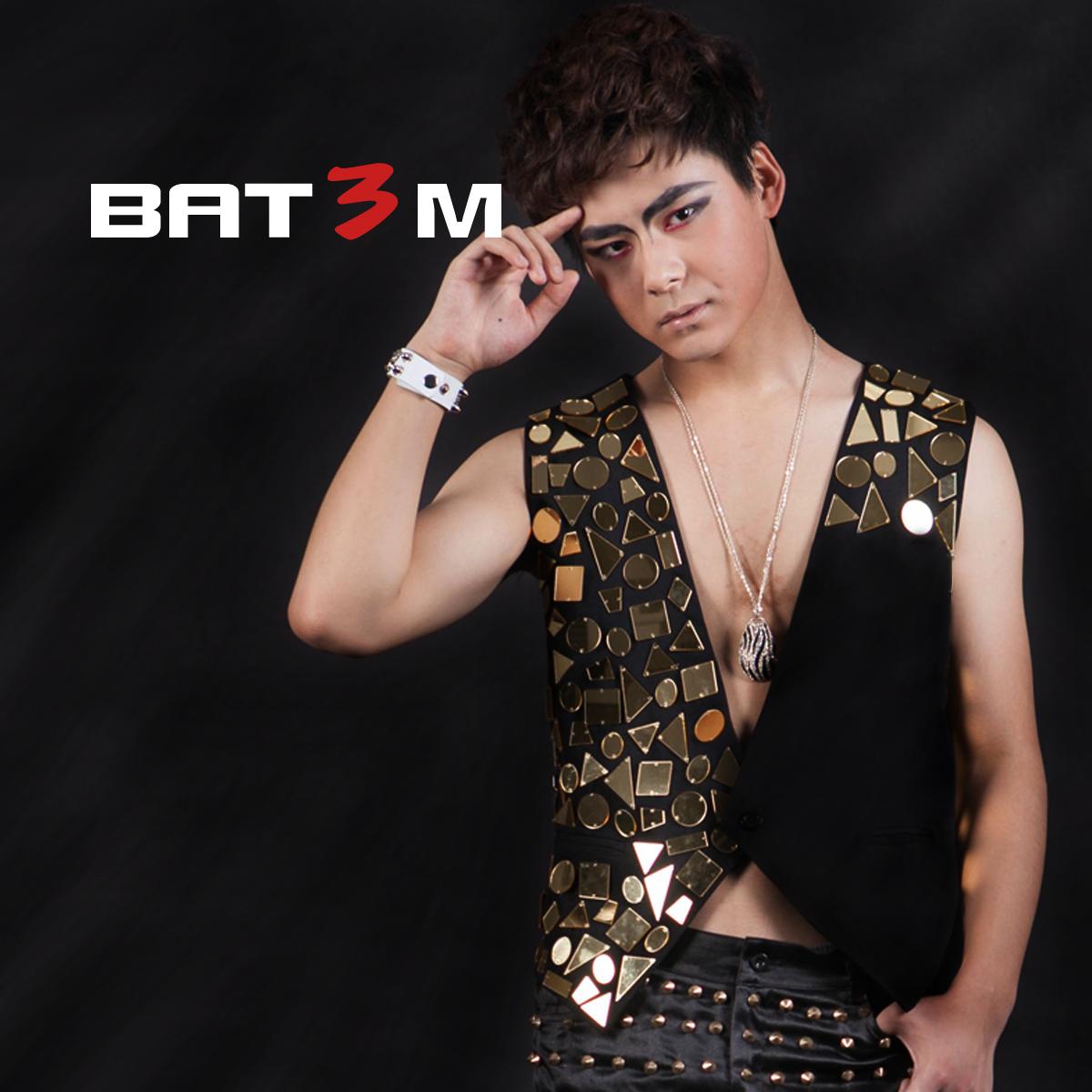 Authentic mens nightclub DJ stage dress personalized stage fashion bar male DS dancer Vest Jacket performance