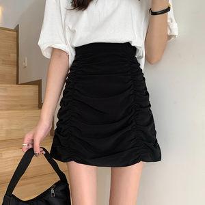 黑色褶皱半身裙女夏韩国ins网红遮肚包臂裙大码高腰设计感a字短裙
