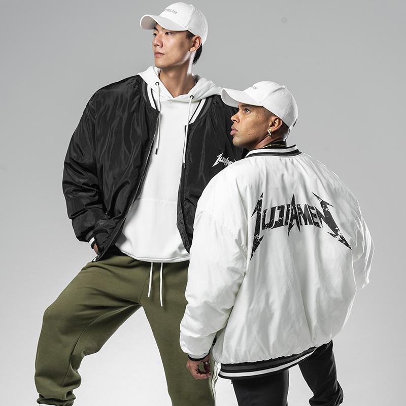 鹿家门冬季黑白双色新款男士宽松加厚情侣棒球棉服潮男时尚棉衣