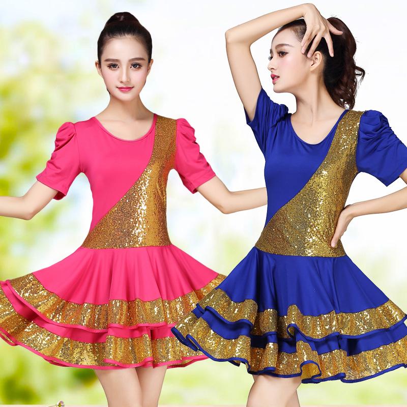 高档短袖大码广场舞服装新款套装亮片连衣裙女士成人拉丁舞蹈演出