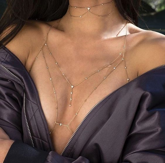 Sexy shiny body bra chain stylish long necklace性感闪钻胸链