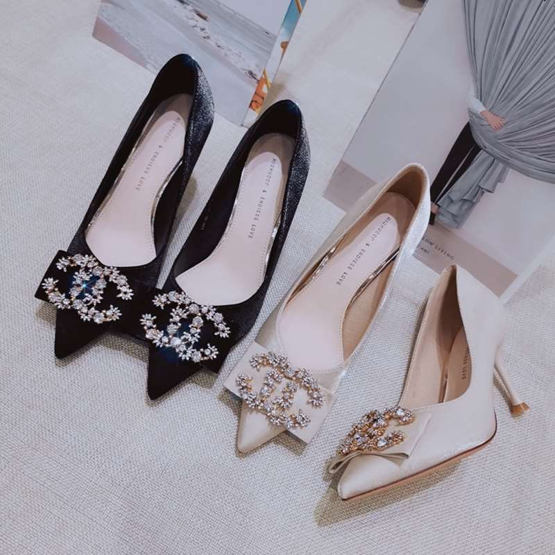Autumn French girl new style pointed shallow mouth slim heel shiny Rhinestone high heels temperament sense sardine shoes