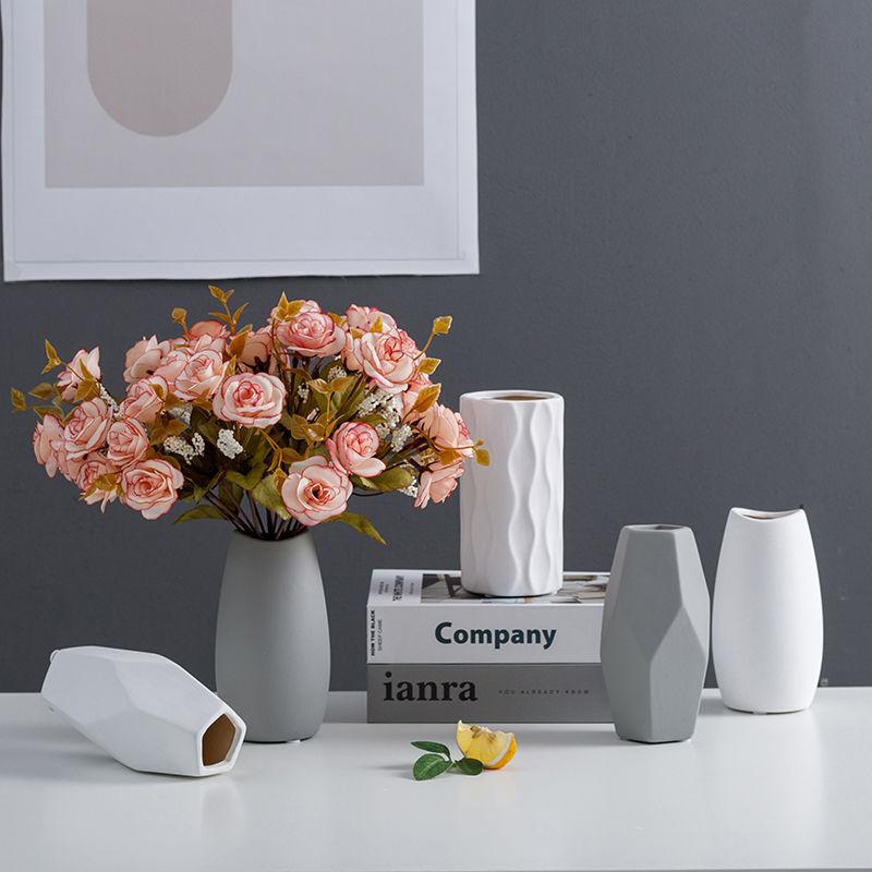 北欧陶瓷花瓶 ins小清新满天星干花摆设现代简约仿真花插花装饰品