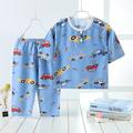 儿童棉绸睡衣夏季男孩短袖夏天薄款空调宝宝套装女童绵绸家居服A