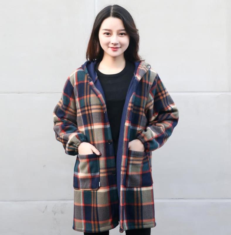 抗寒绒面罩衫外套前开扣冬季围衣时尚防尘加绒罩衣长袖秋冬款上班