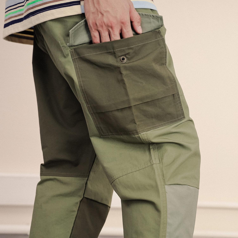 汉际阿美咔叽日系休闲军绿色复古宽松男夏季工装裤薄款拼接九分裤