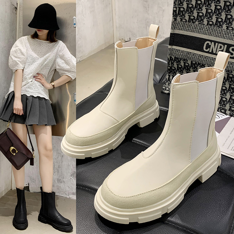 Net red Chelsea boots 2020 summer new fashion ins womens shoes with thick soles and retro British style