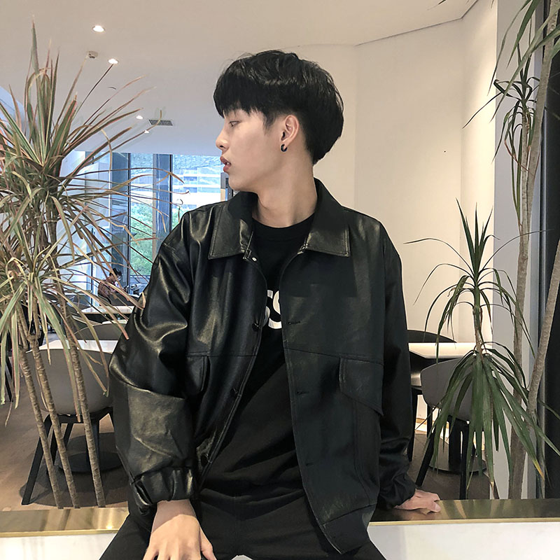 。 Autumn and winter motorcycle clothes leather clothes mens fashion loose Korean fashion handsome mens Winter Youth plush leather jacket