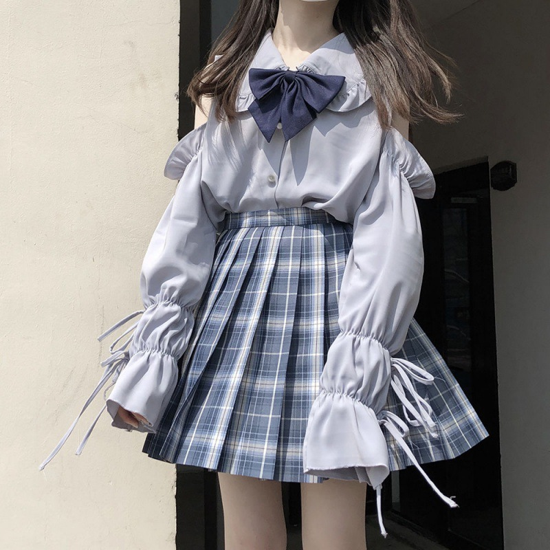 Autumn Japanese soft girl lace Lolita with baby collar long sleeve white shirt off shoulder top