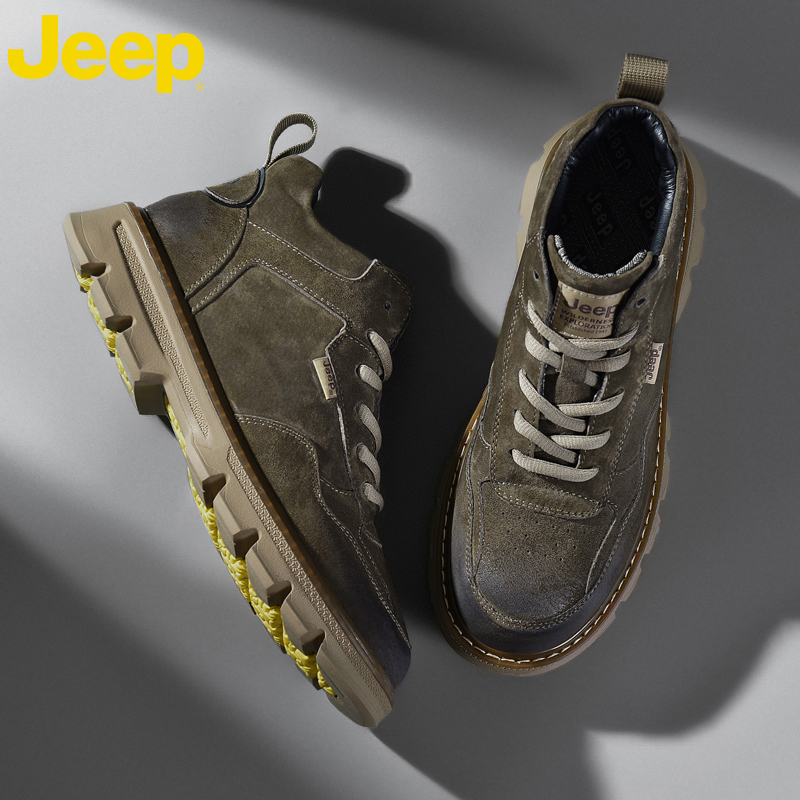Jeep Jeep Martin boots mens autumn high top Korean Leather Mens boots leisure middle top British Wind work clothes mens shoes