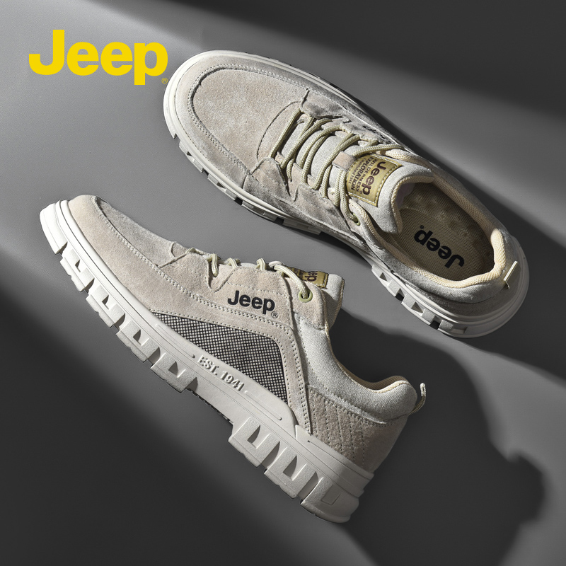 Jeep Jeep mens shoes British style versatile low top Martin boots leather outdoor mountaineering shoes breathable work clothes sneakers
