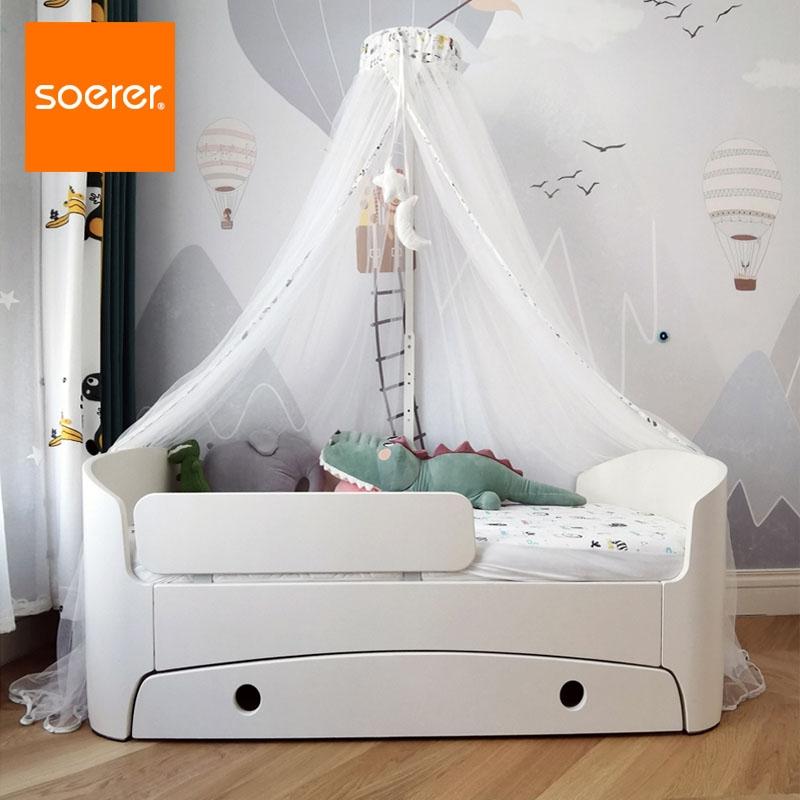 婴儿床儿童床小学生儿童房单人小床北欧高档家具实木游戏床多功能